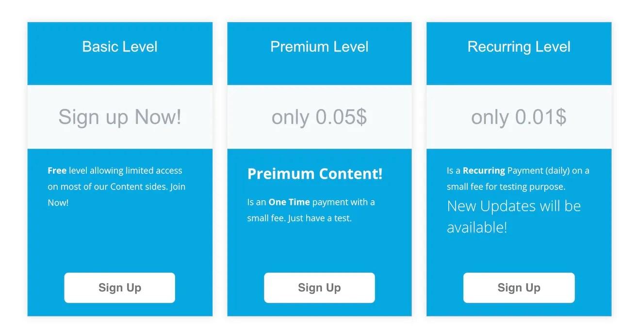 Membership Levels with Ultimate Membership Pro Plugin