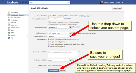 How To Change Your Default Facebook Tab - Step 2