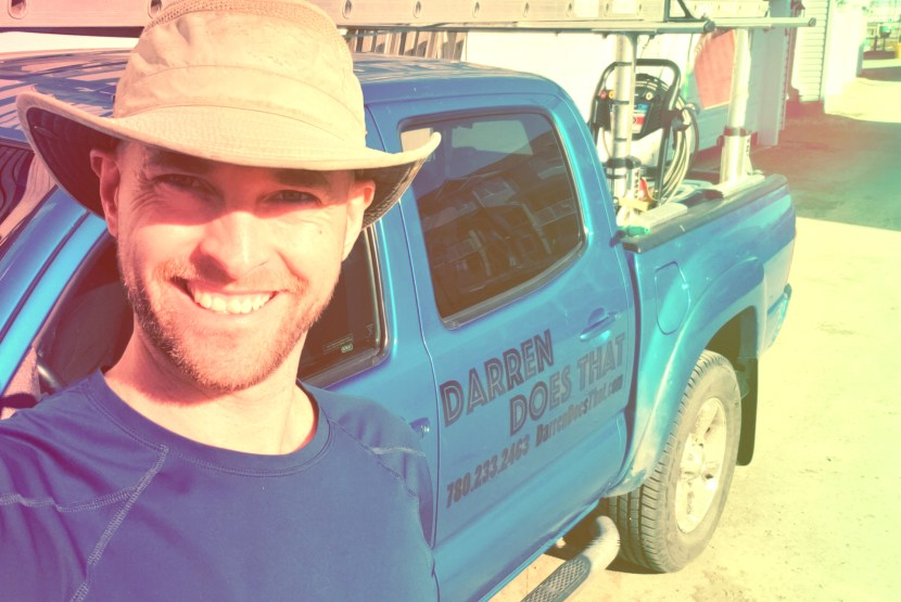 Just a Darren and his bright blue gutter cleaning truck