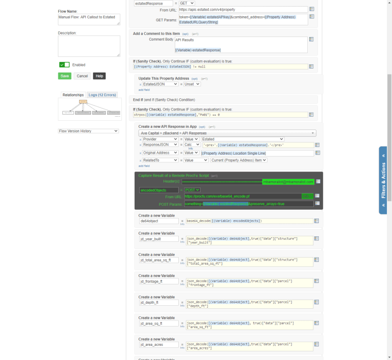 screenshot of Globiflow automation