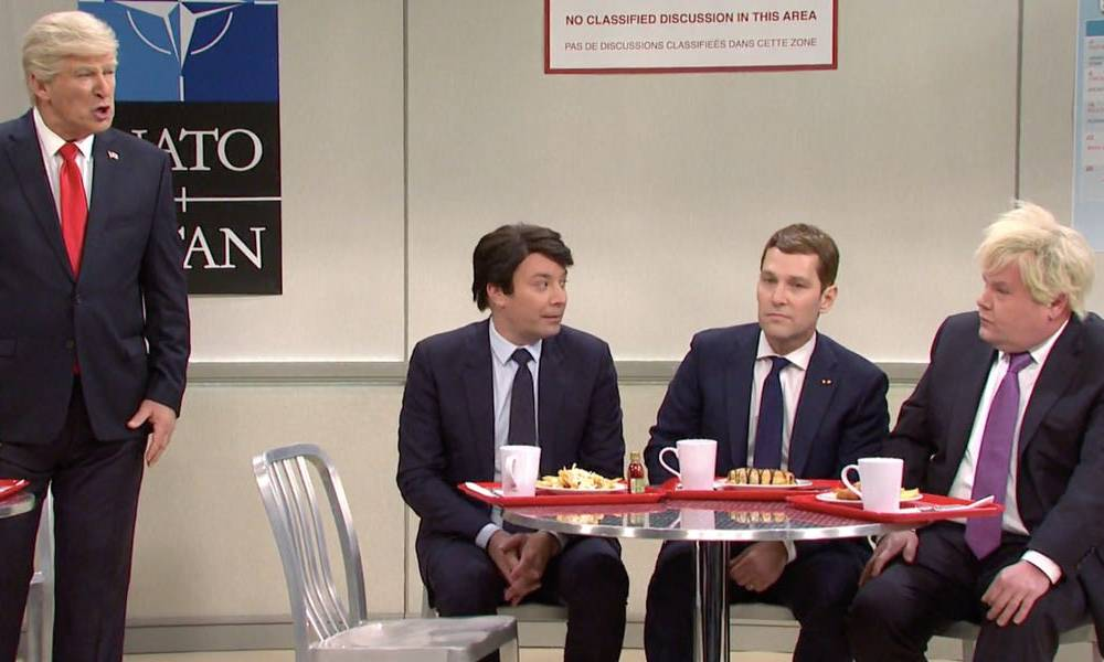 SNL mocks Trump's week at the NATO Summit with bullying from world leaders in the cafeteria