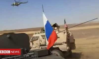 Trump Syria war: Russian and US military vehicles collide
