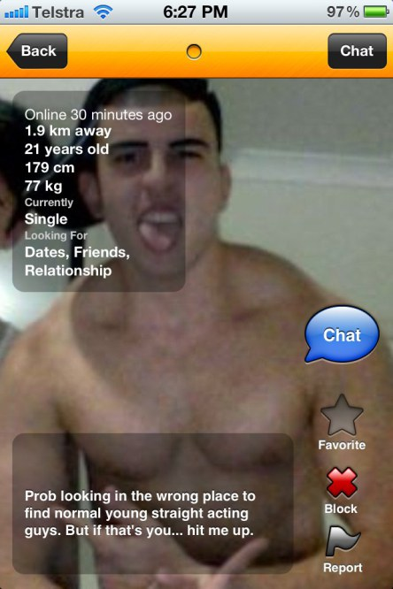 straight-acting Grindr profile