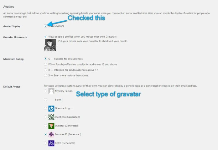 enable gravatar on wordpress comments