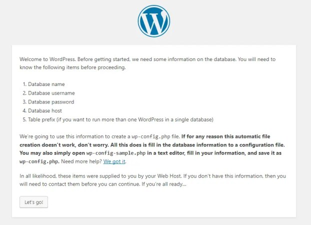 required details for WordPress Install
