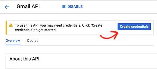 Google API Creating Credentials