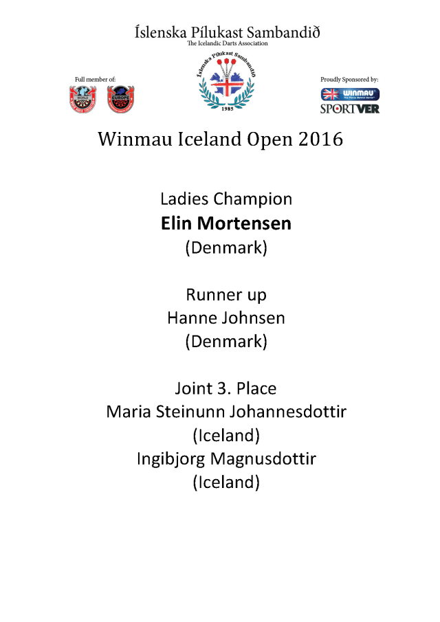 Winmau Iceland Open 2016ladies2