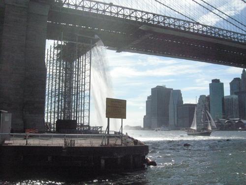 Waterfall under the Brooklyn bridge.