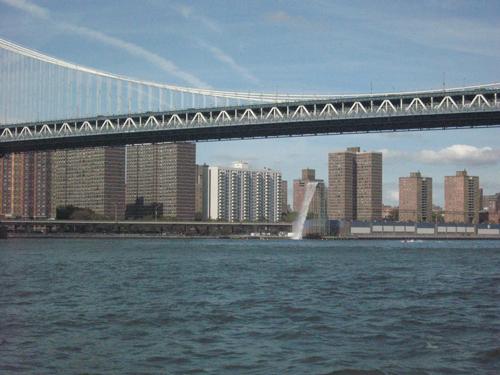 Waterfall by the Manhattan bridge.