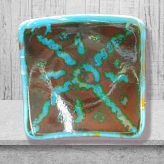 Small 4 x 4 what not dish of teal and red design. Created by DarteGlass, a woman owned brand.