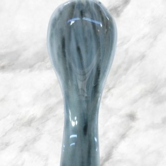 Gray, black and white fused glass spoon rest, handmade by DarteGlass, a woman owned business.