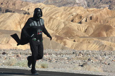 Darth Vader running through Death Valley in summer