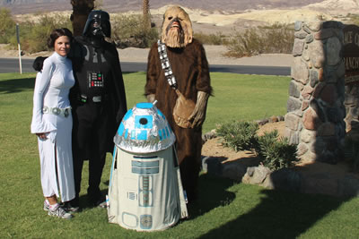 Darth Vader from Star Wars, with Princess Leia, R2D2 and Chewbacca in Death Valley for the Darth Valley Challenge