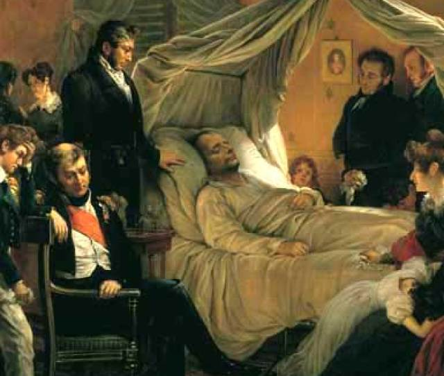 This Highly Stylized Painting By Carl Von Steuben Depicts Napoleon On His Deathbed Surrounded By Members Of His Court And Household