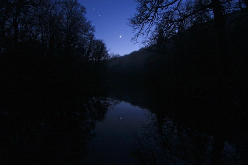 Venus and reflection in river
