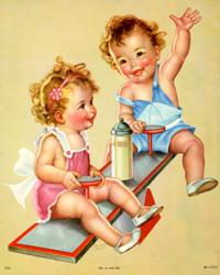 Vintage calendar prints of babies, children, pets, mothers ...