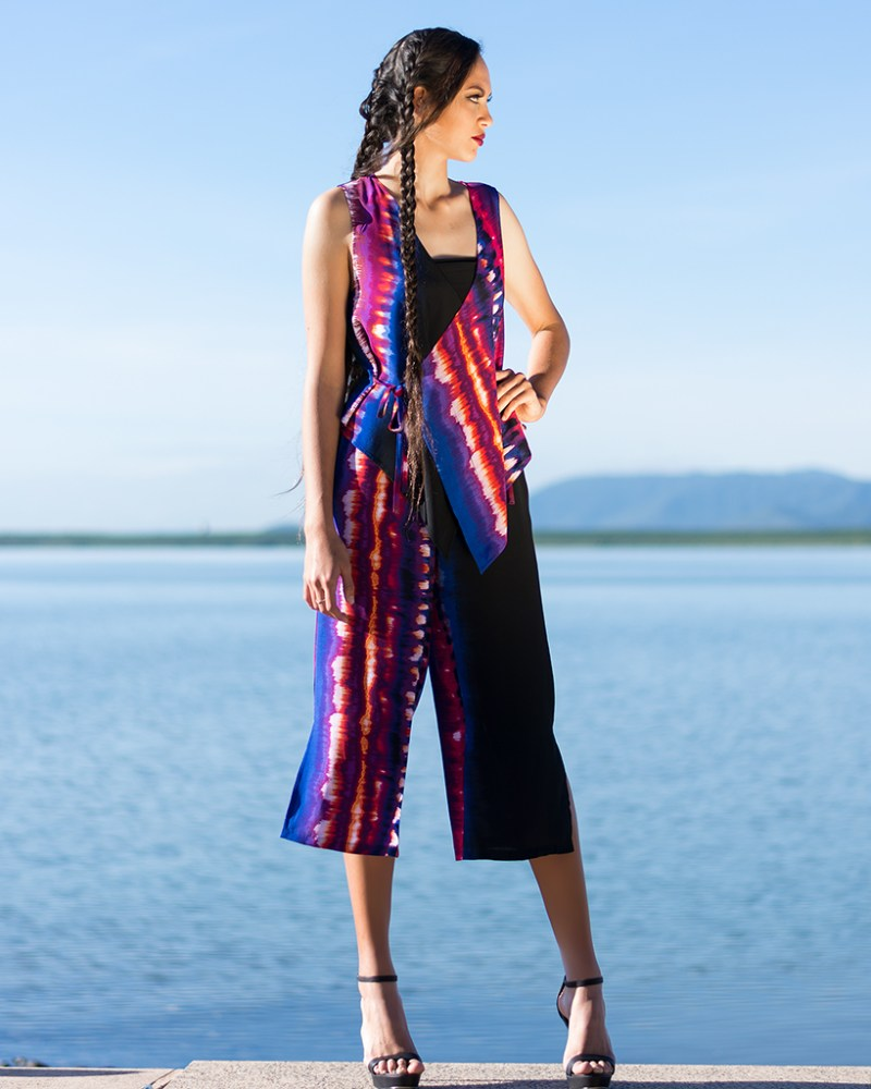 Wrap Vest and Culottes in Purple Rainbow