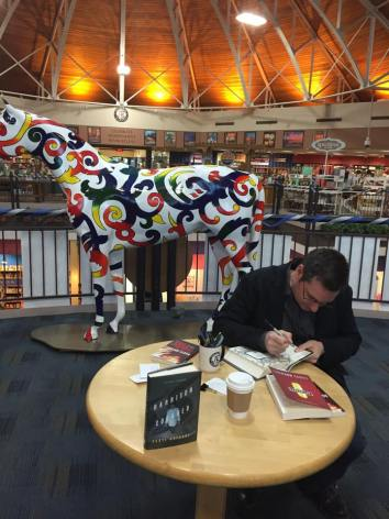 April 1, Joseph-Beth Booksellers in Lexington, KY. I am NOT intimidated by that painted horse.