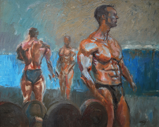 Bodybuilders pumping up for Contest