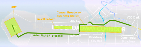 Map outlining LRT proposal by Adam Fitch and major Broadway business and activity areas.