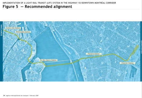 Montreal Champlain LRT recommended alignment