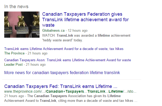 (CTF gives TransLink waste award search result) - Look what I found on the news today! But, is anyone really surprised at this point? I'm not.