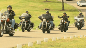 Motorcycle gangs were among the many strangers who showed up to pay their respects to veteran Ronnie Toler.
