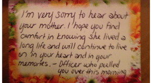 The beautiful note included with the flowers a police officer sent to a woman she pulled over for speeding.
