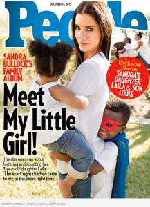 I have to think this People Magazine cover of Sandra Bullock and her two kids is going to inspire a lot of smiles at grocery check out lines across the country this week.