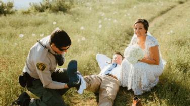 A rattlesnake gives a Colorado couple an instant lesson in sickness and in health when the snake bites the groom during wedding photos.