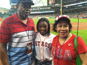 Simone Biles with her parents, Ron and Nellie Biles.