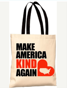 Stay-at-home mom, Amanda Blanc, has created products like this shopping bag promoting the idea of making America kind again.