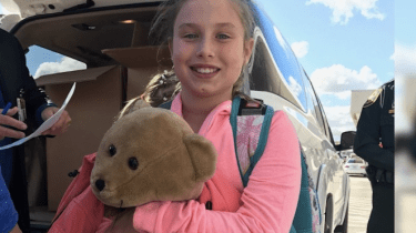 10-year-old Courtney Gelinas is reunited with her beloved teddy bear, Rufus. They were separated in the panic following the shooting rampage in the Fort Lauderdale airport.