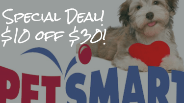 Special PetsMart promotion. $10 off $30.