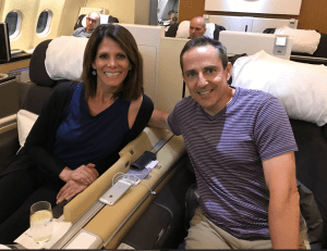 Lufthansa First Class. Dubai to Milan, through Frankfurt. Two tickets would cost $10,000. MH splurged,paying $240 and 120,000 United miles for both of us. A great points redemption.