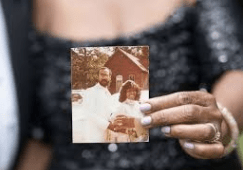 This is the only photo that remains from Jennifer and Timothy Bing's wedding 38 years ago. The other wedding photos were lost in a house fire.