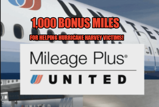 Earn 1,000 Bonus United MileagePlus Miles By Helping Hurricane Harvey Victims