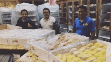 Four bakers stuck in a Houston bakery because of Hurricane Harvey flood waters spend two days baking bread for survivors in shelters.