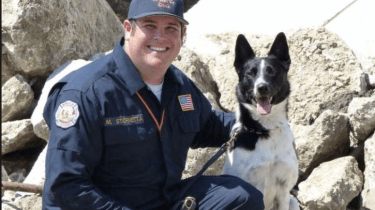 Rocket is a former shelter dog who was scheduled to be euthanized because he was deemed too energetic. He's now a search and rescue dog helping to save lives in the aftermath of Hurricane Harvey.
