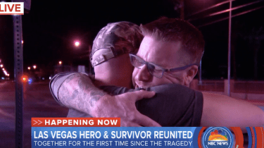 Las Vegas shooting victim Tom McIntosh reunites with the hero, James Lawson, who saved him after the massacre in Las Vegas.