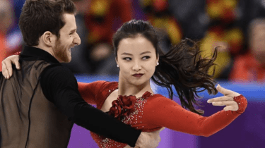 Olympic ice dancer Yura Min overcomes a wardrobe malfunction at the Seoul Olympics.