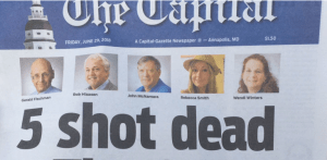 The staff of the Capital Gazette in Annapolis, Maryland put out their newspaper hours after a man killed five of their colleagues and wounded two others in their newsroom Thursday.