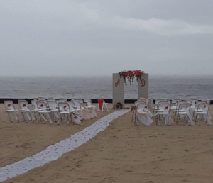 Those looming clouds meant this wedding was in serious danger of being rained out.