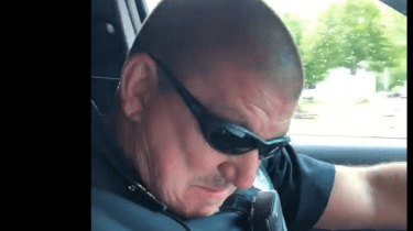 Retiring Southbridge Massachussetts cop Duane Ledoux is overcome with emotion as he's surprised by his son on his final radio call.