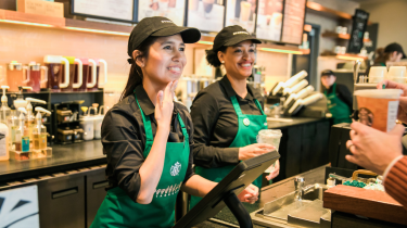 Starbucks opens it's first signing store in the US. All the employees are fluent in sign language.