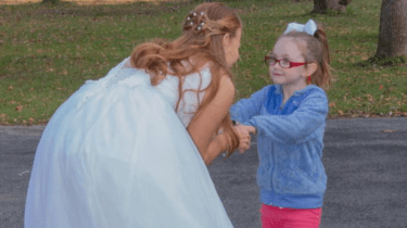 Recent bride Olivia Spark has a beautiful reason to keep putting on her wedding dress, much to the delight of her new friend, Layla Lester, who has autism.