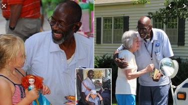 Neighbors in Marietta, GA honor retiring mailman Floyd Martin on his last day on the job.