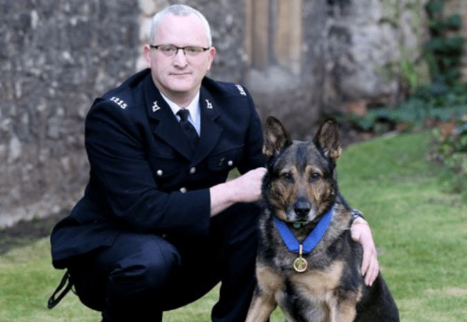 Finn, the police dog is a magician and this is what he and Officer Dave Wardell look like in their other life.