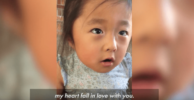 This is favorite moment of this adoption story video. 'My heart fall in love with you.'