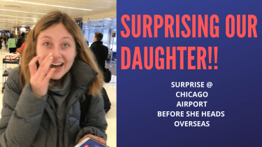 Surprising our daughter at the airport